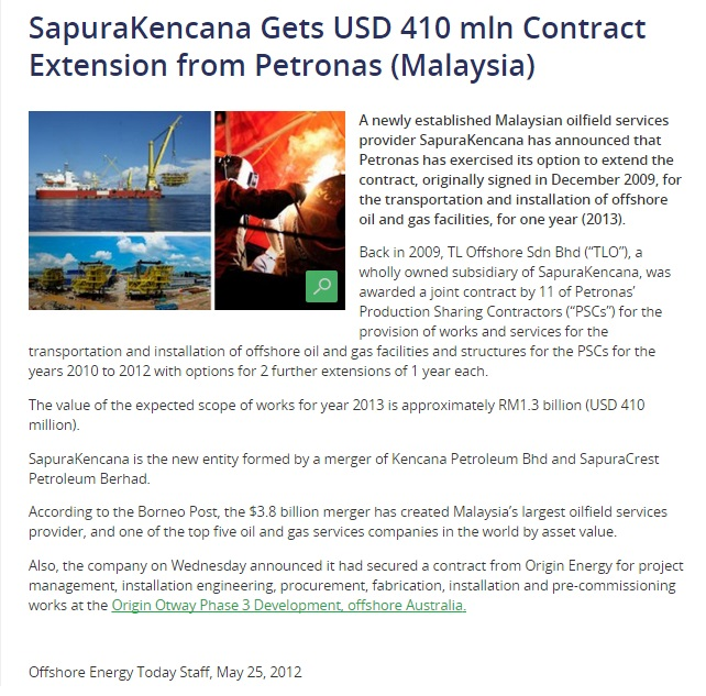 Offshoreenergytoday - SapuraKencana gets USD 410mln contract extension from Petronas (Malaysia) (250512)