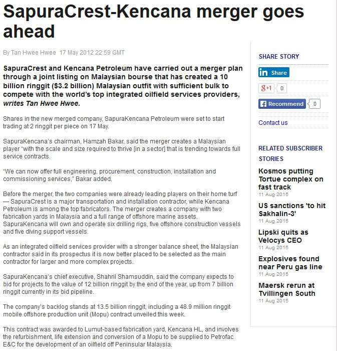Upstream - SapuraCrest-Kencana Merger Goes Ahead (170512)