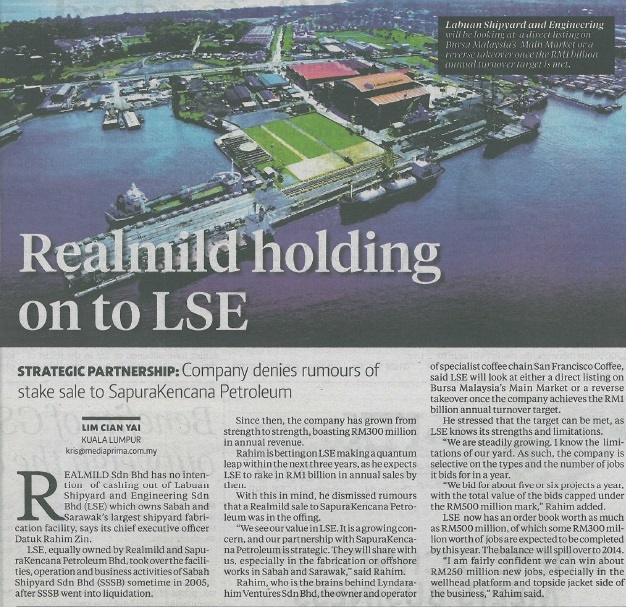 NST - Realmild holding on to LSE (090913)