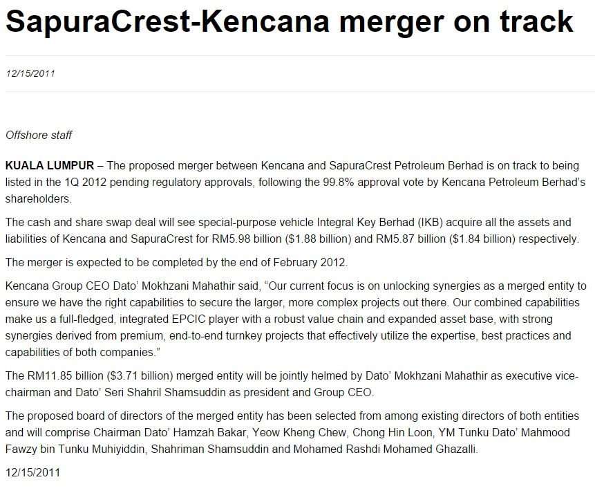 Offshore Online - SapuraCrest, Kencana boards agree to RM11.85b merger (151211)