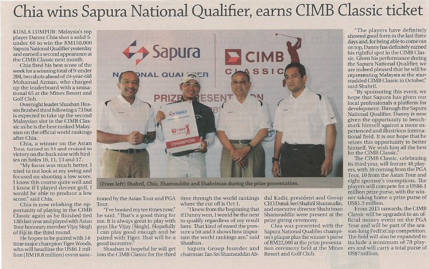 The Edge FD - Chia wins Sapura National Qualifier, earns CIMB Classic ticket (130912)