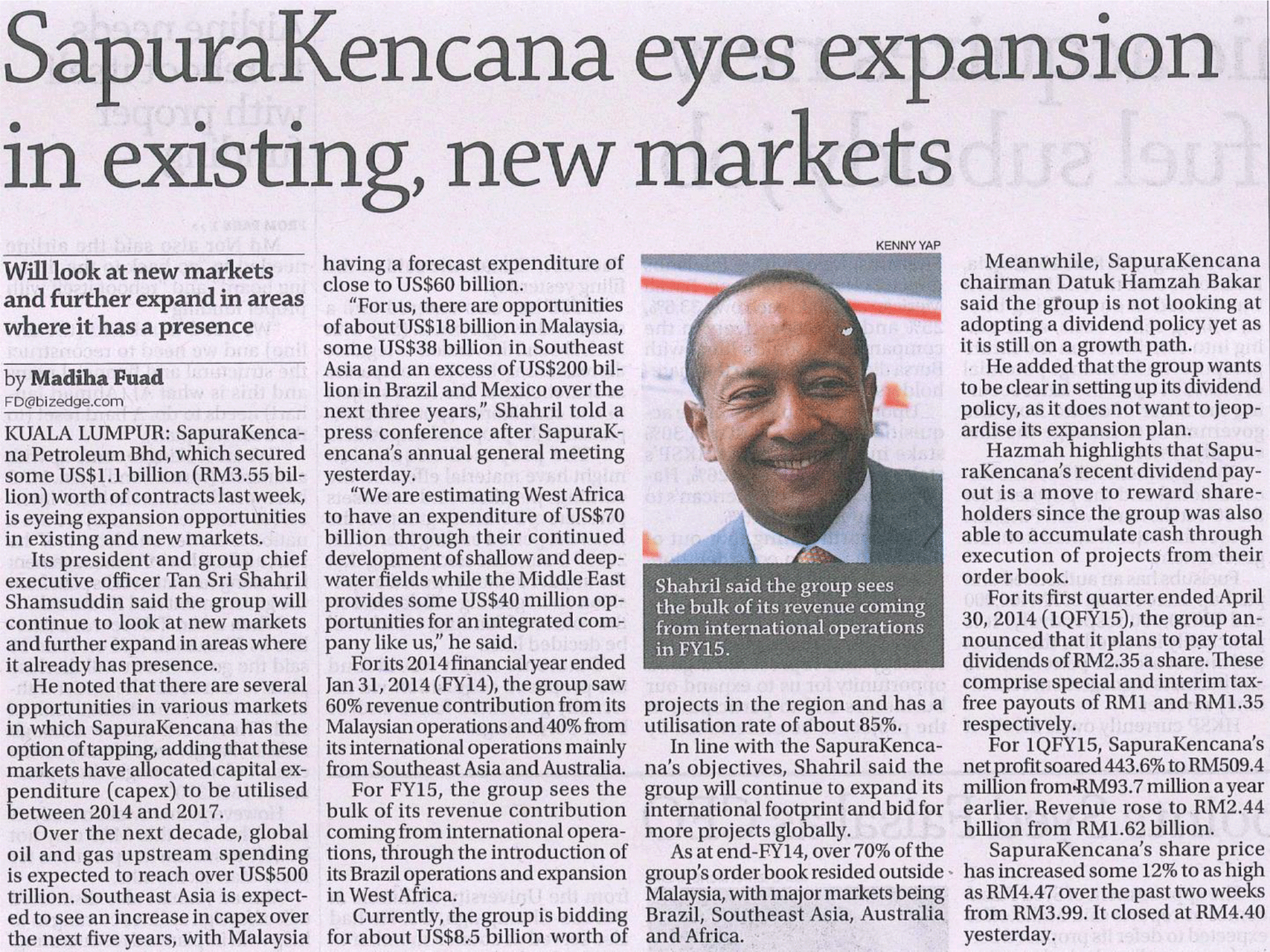 The-Edge---SapuraKencana-eyes-expansion-in-existing,-new-markets-(260614)
