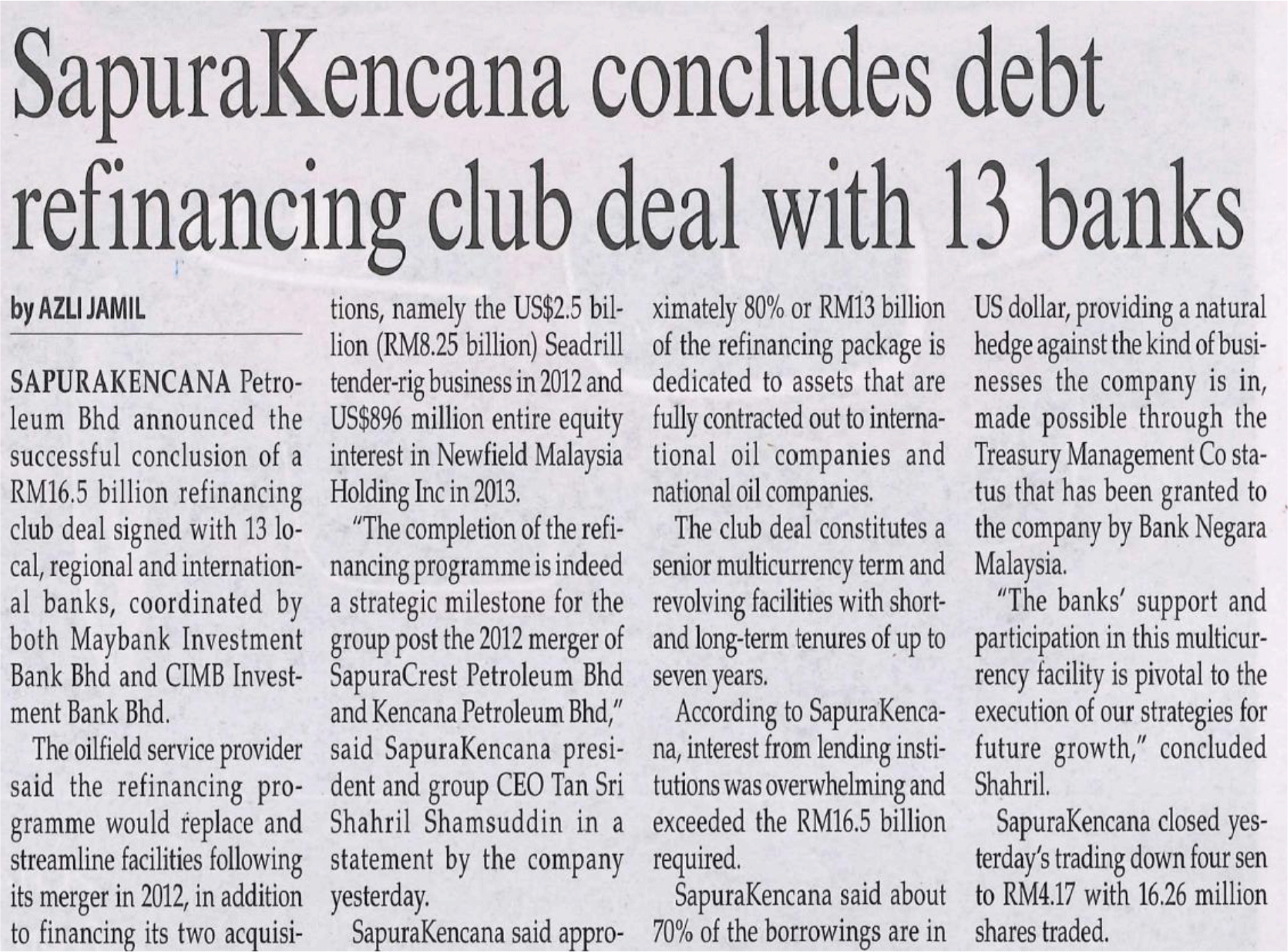 The-Malaysian-Reserve---SapuraKencana-concludes-debt-refinancing-club-deal-with-13-banks-(210314)