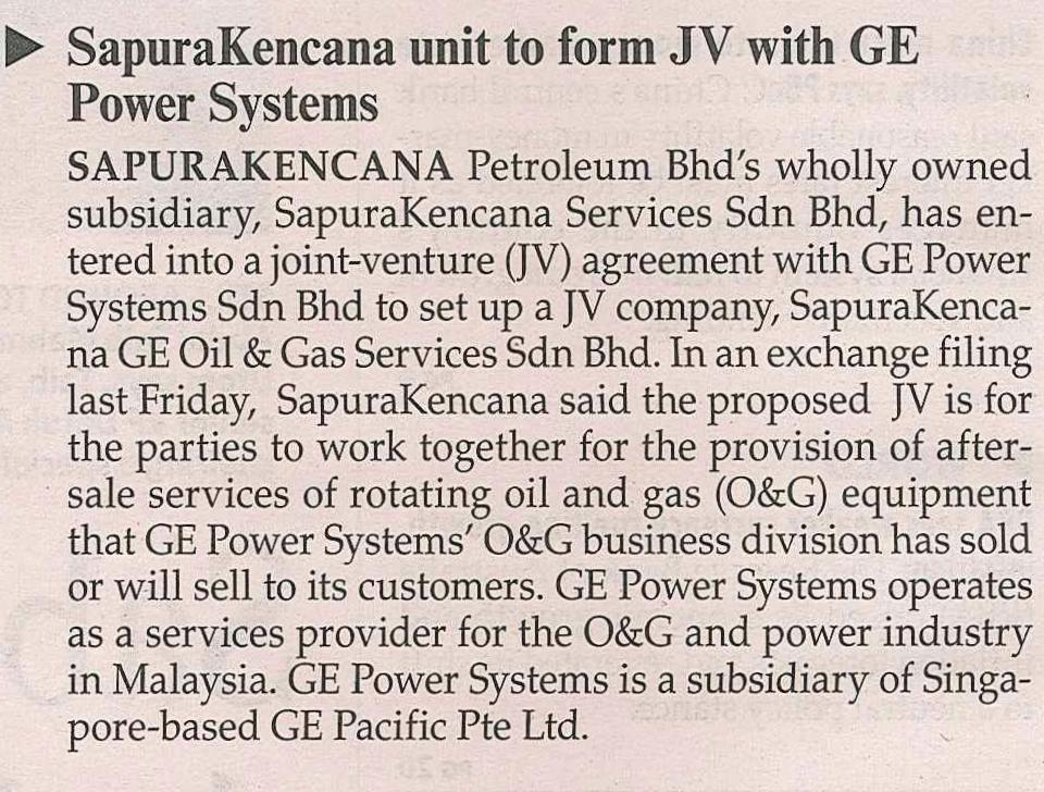 The Malaysian Reserve - SapuraKencana unit to form JV with GE Power Systems (080214)