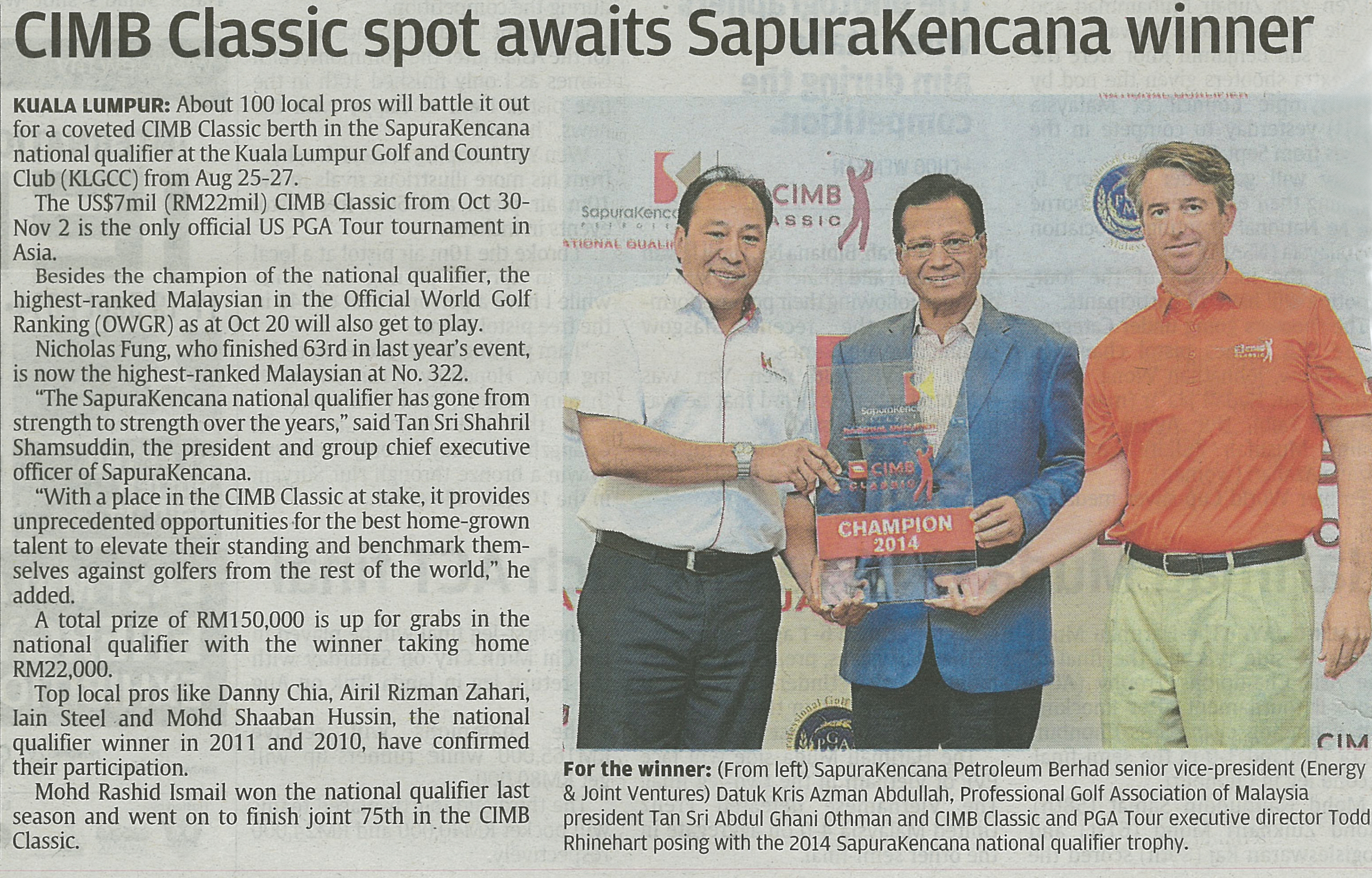 The Star - CIMB Classic spot awaits SapuraKencana winner (200814)