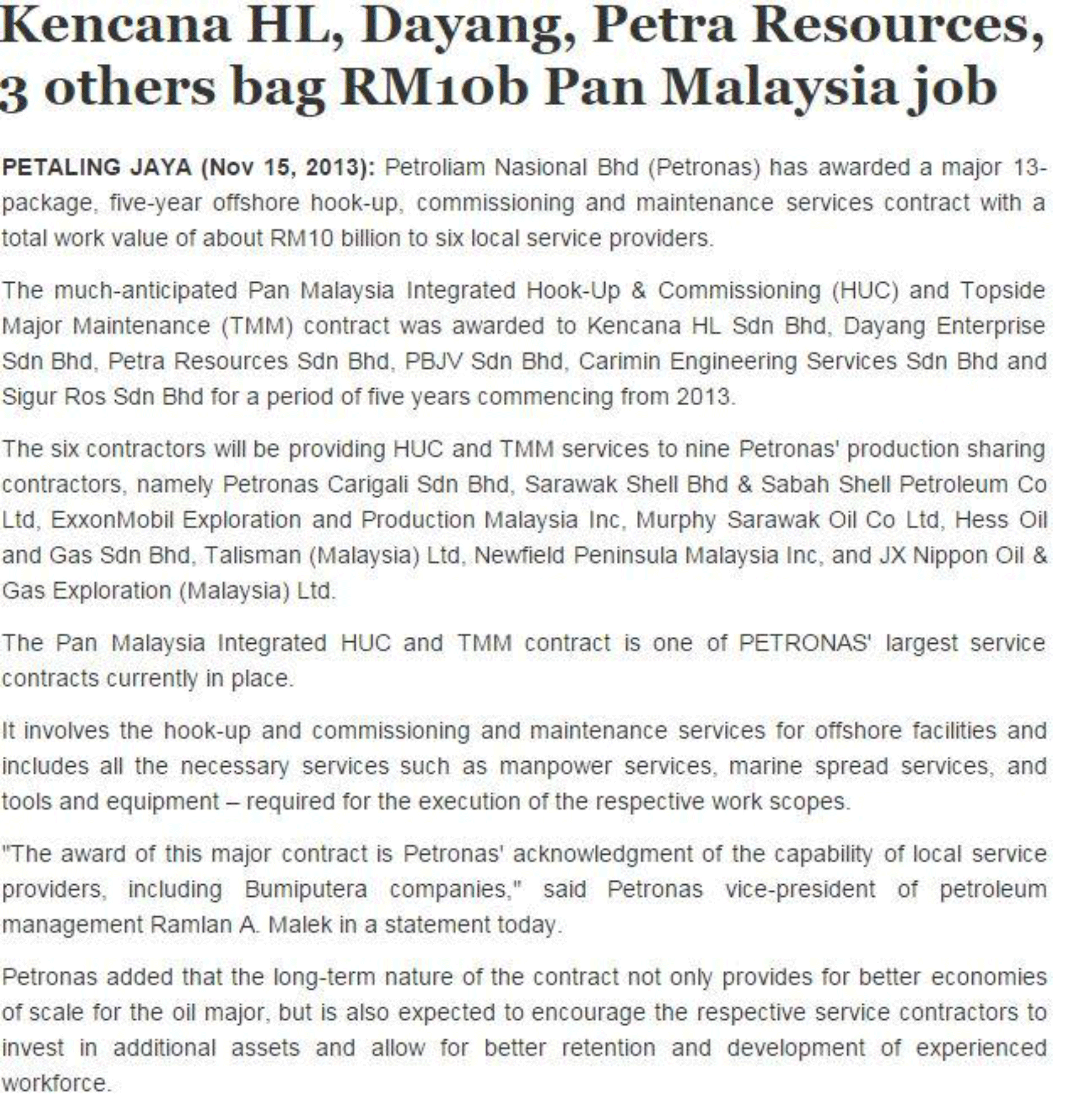 The-Sun-Daily---Kencana-HL,-Dayang,-Petra-Resources,-3-others-bag-RM-10b-Pan-Malaysia-job-(151113)-