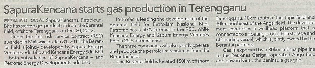 The Sun Daily - SapuraKencana starts gas production in Terengganu (031212)