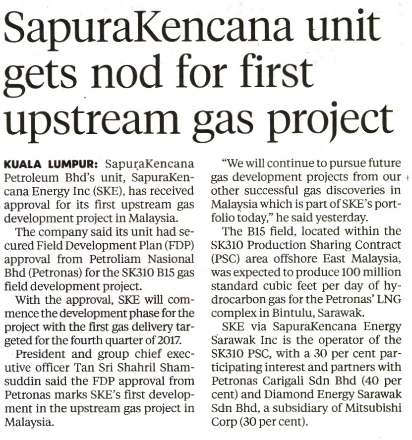 New Straits Times - SapuraKencana gets nod for first upstream gas project (031115)