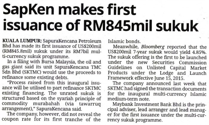 The Star - SapKen makes first issuance of RM845mil sukuk (090915)