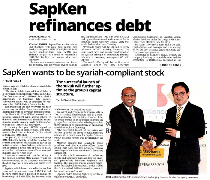 The Star - SapKen refinances debt (040915)